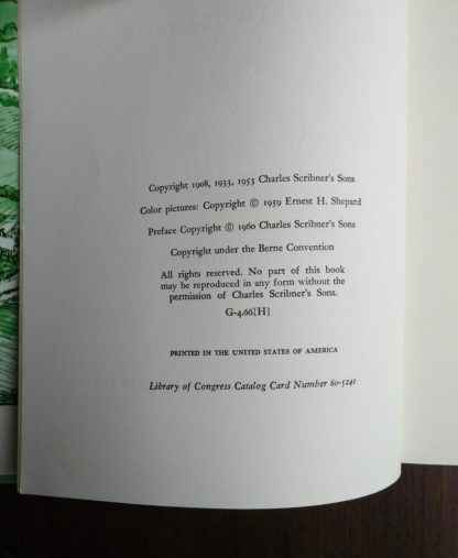 copyright page on a 1960 Golden Anniversary Edition of The Wind in the Willows by Kenneth Grahame