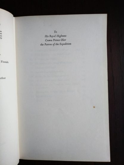 dedication page in a 1958 First Edition of Aku-Aku, The Secret Of Easter Island