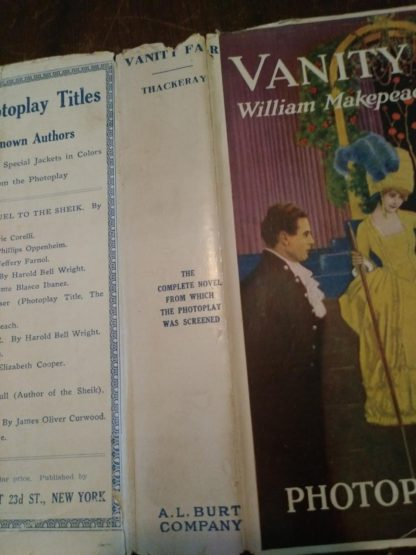dust jacket up close from a 1923 first photoplay edition of Vanity Fair by William Makepeace Thackeray