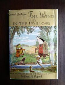 front cover of dust jacket on a 1960 Golden Anniversary Edition of The Wind in the Willows by Kenneth Grahame
