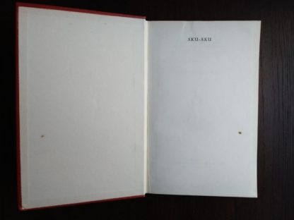 front paste-down and endpaper in a 1958 First Edition of Aku-Aku, The Secret Of Easter Island