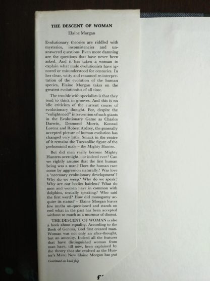 inside flap of the dust jacket on a 1972 copy of The Descent of Woman, by Elaine Morgan, First British Edition