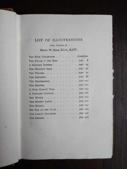 list of illustrations in a 1920 copy of reminiscences of Scottish Life and Character by Dean Ramsay