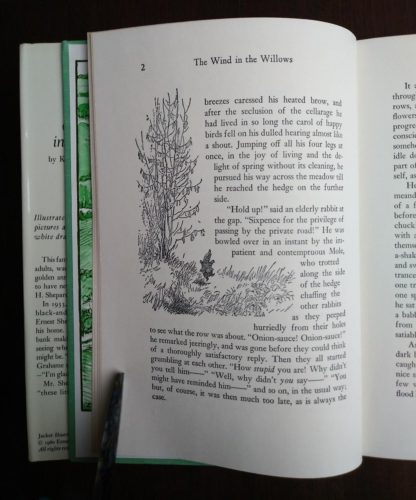 page 2 in a 1960 Golden Anniversary Edition of The Wind in the Willows by Kenneth Grahame