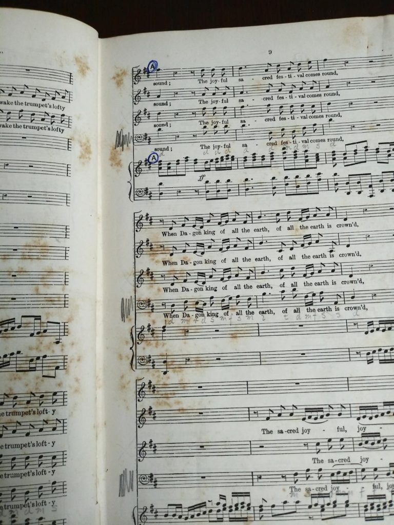 page 9 in a copy of Samson, an Oratorio in Vocal Score, composed in 1742, by Handel