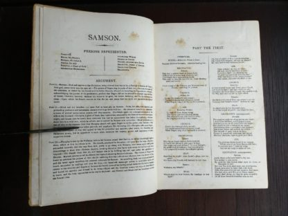 parts explained in a copy of Samson, an Oratorio in Vocal Score, composed in 1742, by Handel