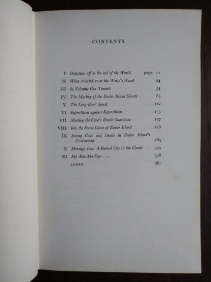 table of contents page in a 1958 First Edition of Aku-Aku, The Secret Of Easter Island
