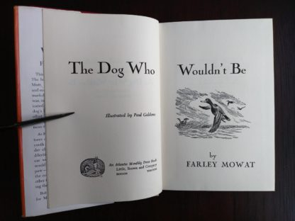 title page in a copy of The Dog Who Wouldnt Be, 1957, 4th edition, by Farley Mowat