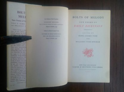 title page view in a 1945 First Edition of Bolts of Melody by Emily Dickinson