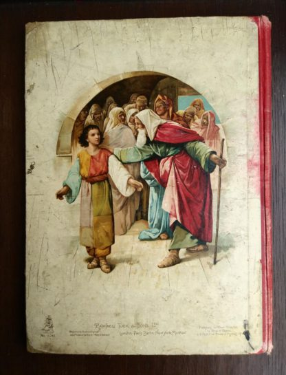 back side of Picture Stories from the Bible published by Raphael Tuck & Sons with chromolithograph illustrations by John Lawson