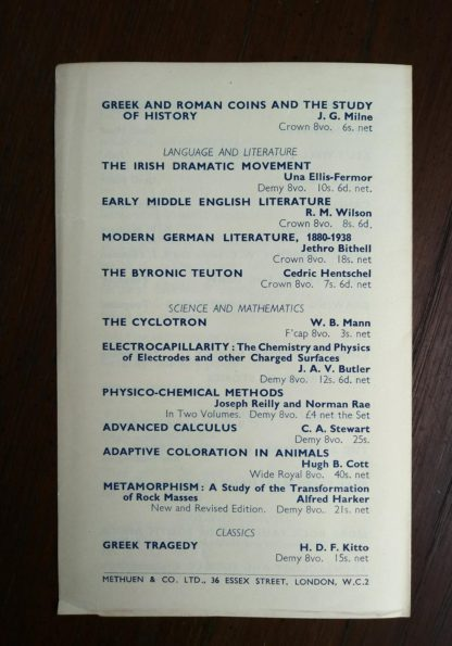 back side of an Autumn 1939 Catalogue for Methuen Books