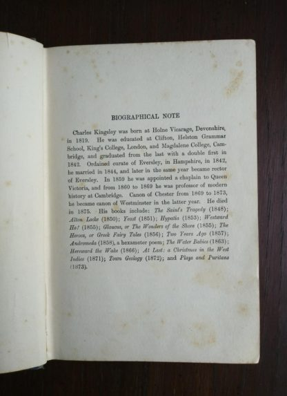 bibliographical note in an undated library copy of The Water-Babies by Charles Kingsley published by Blackie and Sons