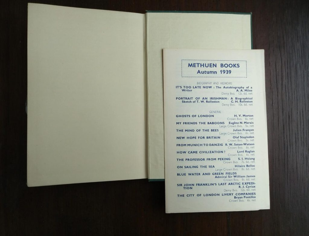 catalogue for methuen books in a 1939 first edition copy of Ghosts of London by H.V. Morton