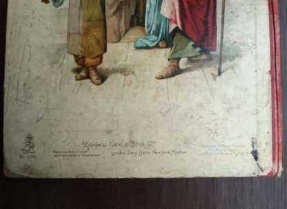 close up of back side of Picture Stories from the Bible published by Raphael Tuck & Sons with chromolithograph illustrations by John Lawson
