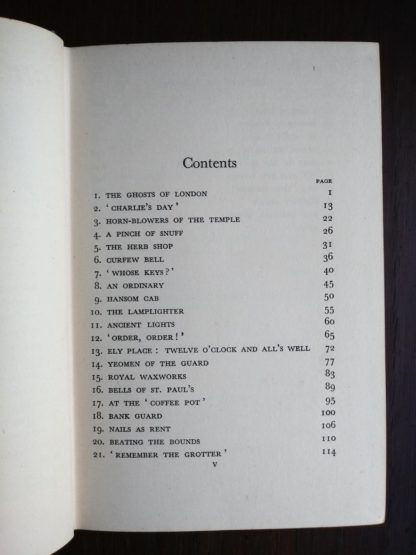 contents page 1 of 2 in a 1939 first edition copy of Ghosts of London by H.V. Morton