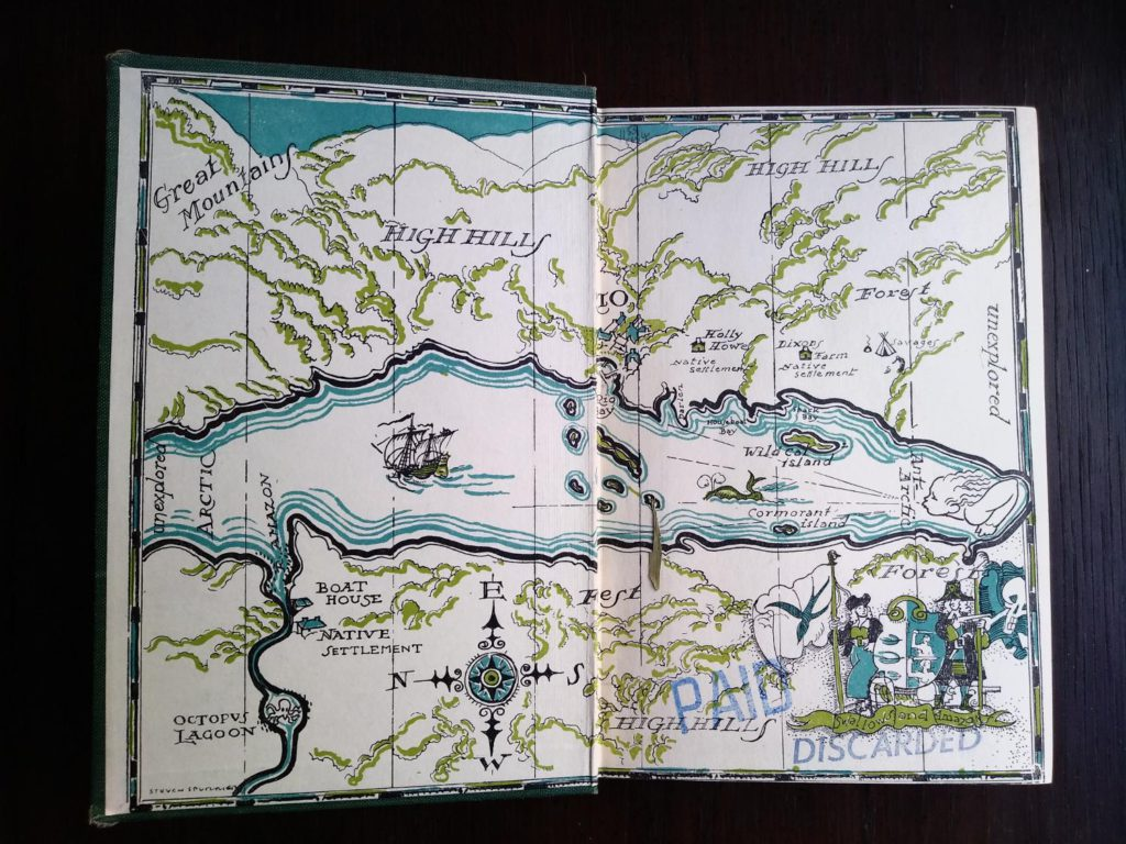 front paste down and endpaper in a 1953 copy of Swallows and Amazons by Arthur Ransome