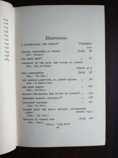 list of illustrations in a 1939 first edition copy of Ghosts of London by H.V. Morton