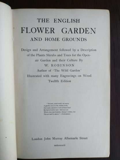 title page for English Flower Garden by W. Robinson 1913 twelfth edition