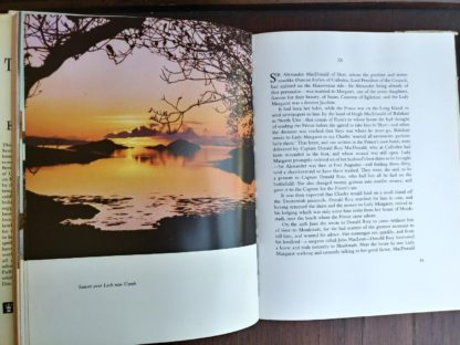 Sunset over Loch nan Uamh in a 1966 copy of The Prince in the Heather by Eric Linklater