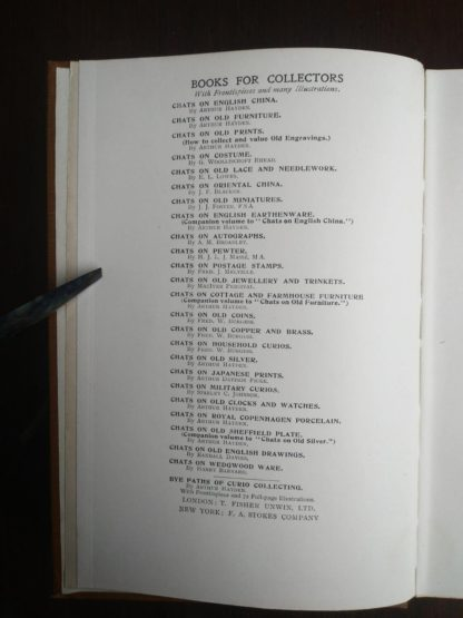 a list of other book in the same series in a 1925 copy of Chats on Old Furniture by Arthur Hayden