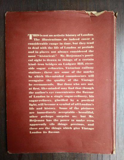 1942 Vintage London by John Betjeman first edition backside of dust jacket