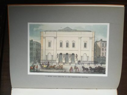 Color plate of Drury Lane Theatre in the Nineteenth Century in a 1942 first edition copy of Vintage of London by John Betjeman