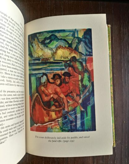 The Last of the Mohicans Rainbow Classics circa 1950s by James Fenimore Cooper colour illustration on page 259