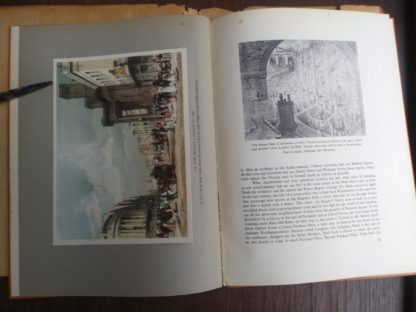 The Regents Street in 1842 and The Steamy Side of Industrial London pg 12 and 13 in a 1942 first edition copy of Vintage of London by John Betjeman