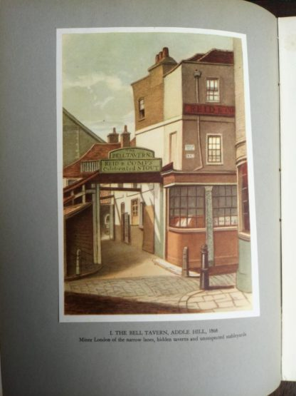 color plate of The Bell Tavern in Adele Hill in 1868 in a 1942 first edition copy of Vintage of London by John Betjeman