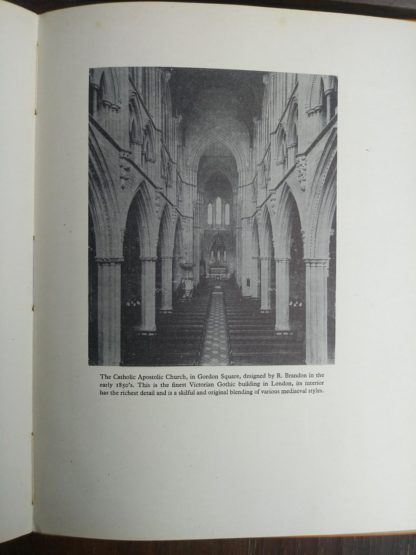 picture of The Catholic Apostolic Church in Gordon Square in a 1942 first edition copy of Vintage of London by John Betjeman