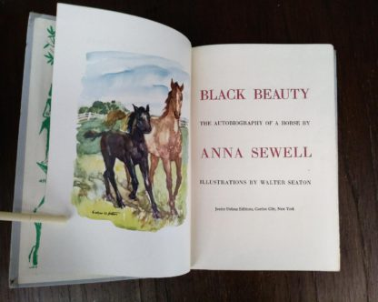 title page for Black Beauty inside a childrens Junior Deluxe Editions book, Circa 40s -50s