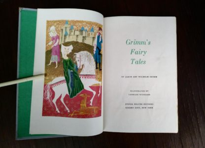 title page for Grimms Fairy Tales inside a childrens Junior Deluxe Editions book, Circa 40s -50s