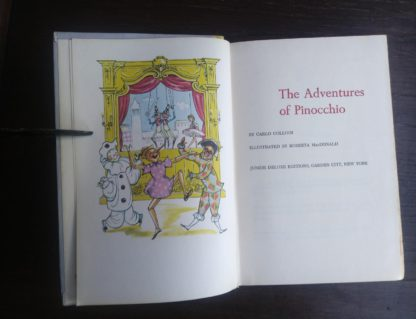 title page for The Adventures of Pinocchio in a childrens Junior Deluxe Editions book, Circa 40s -50s