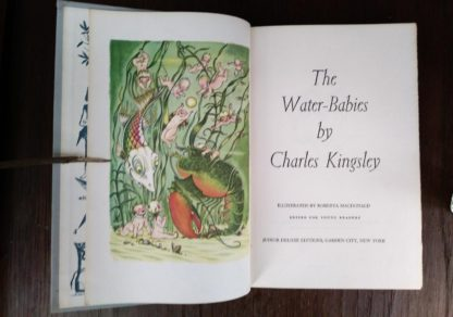 title page of Water-Babies in a childrens Junior Deluxe Editions book, Circa 40s -50s
