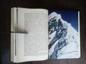 1954 First edition copy of The Conquest of Everest by Sir John Hunt color photograph page 204