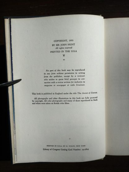 1954 First edition copy of The Conquest of Everest by Sir John Hunt copyright page