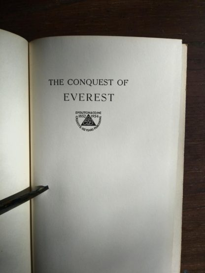 1954 First edition copy of The Conquest of Everest by Sir John Hunt half title page