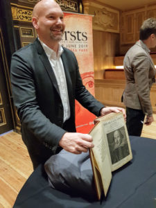 Pom Harrington of Peter Harrington presents John Wolfson's copy of Shakespeare's First Folio