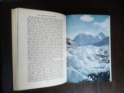 color photograph on page 209 inside a 1954 First edition copy of The Conquest of Everest by Sir John Hunt