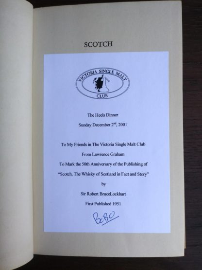ephemera inside a 1951 First edition of Scotch -The Whiskey of Scotland in Fact and Story by Sir Robert Bruce Lockhart