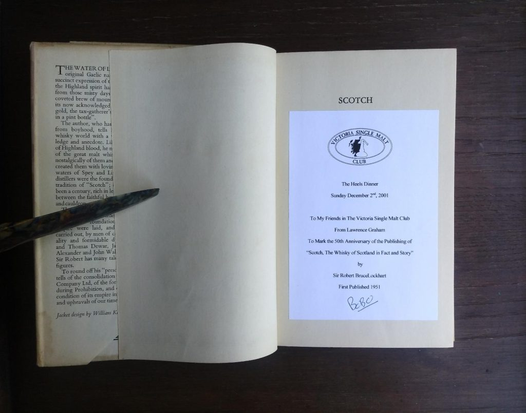 ephemera on a pre title page in a 1951 First edition of Scotch -The Whiskey of Scotland in Fact and Story by Sir Robert Bruce Lockhart