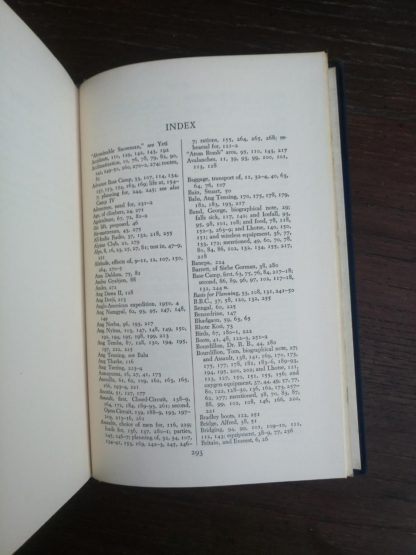 index inside a 1954 First edition copy of The Conquest of Everest by Sir John Hunt