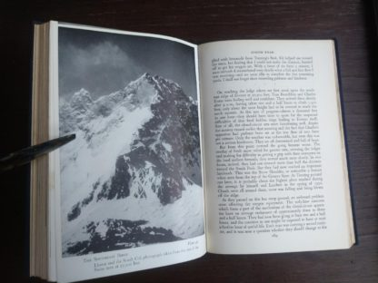 photograph of the Southeast Ridge inside a 1954 First edition copy of The Conquest of Everest by Sir John Hunt