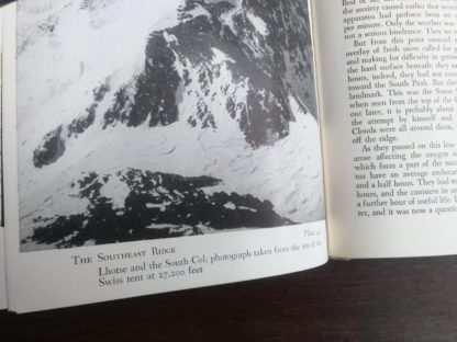 photograph of the Southeast Ridge inside a 1954 First edition copy of The Conquest of Everest by Sir John Hunt up close