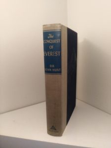 spine view of a 1954 First edition copy of The Conquest of Everest by Sir John Hunt