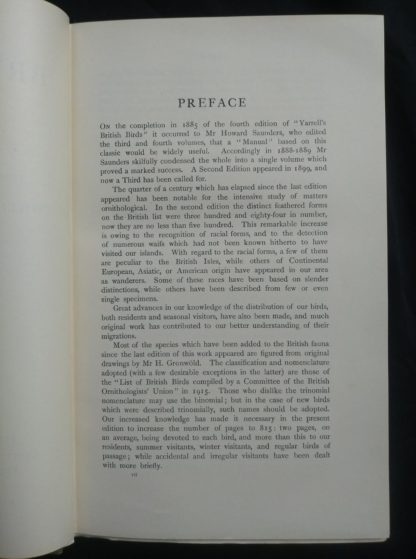 1927 Manual of British Birds 3rd edition Howard Saunders and W. Eagle Clarke page 1 of 2 of the Preface