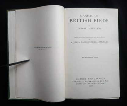 1927 Manual of British Birds 3rd edition Howard Saunders and W. Eagle Clarke title and copyright page