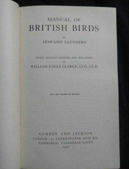 1927 Manual of British Birds 3rd edition Howard Saunders and W. Eagle Clarke title page