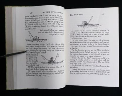 1954 copy of The Wind in the Willows illustrations by Ernest Shepard on page 16 and 17