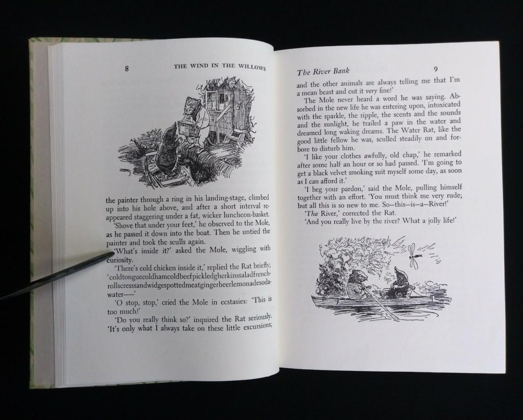 1954 copy of The Wind in the Willows illustrations on page 8 and 9 by Ernest Shepard
